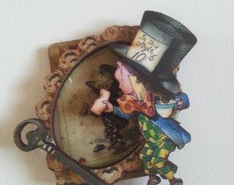 Mad Hatter, Alice in Wonderland, brooch, wood, top hat, tea party, blue and black, teal, framed, by NewellsJewels oin etsy