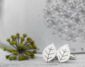 Leafy silver cufflinks, Leaf cufflinks, Wedding cufflinks, Botanical jewelry, Gifts for men, Groom cufflinks