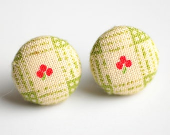 Little Berries Fabric Button Earrings