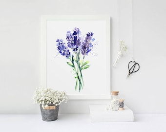 Lavender Art Print, Purple Printable Art, Botanical Watercolor, Lavender Wall Art, Rustic Home Decor, Antique Botanical Art, Kitchen Decor