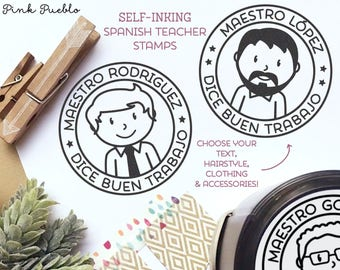 Self Inking Spanish Teacher Stamps, Spanish Teacher Gifts - Choose Hairstyle and Accessories