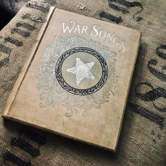 War songs Book 1800's,  book collection, antique books, wonderful decorator 100 year old books.