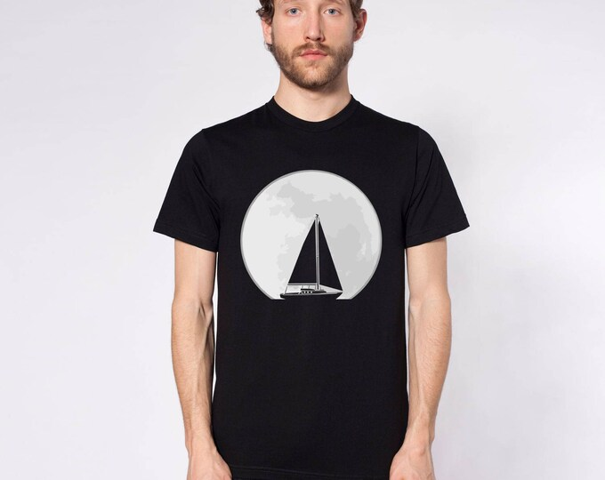 KillerBeeMoto: Sailboat Sailing Across The Path Of The Moon Short or Long Sleeve T-Shirt