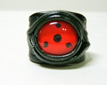 Anime adjustable leather ring.