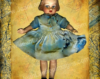 Creepy Cute Doll photo with vintage Paris map  golden yellows and aqua teal innocent sweet orphan doll photo by jean lannen