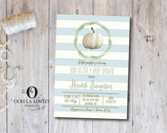 Boy Little Pumpkin Baby Shower Invitation, Fall Baby Shower Invitation, Printable, DIY, White Pumpkin Invitation, Blue, Printed Invite