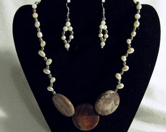 Freshwater Pearl and Jasper - Necklace and Earrings