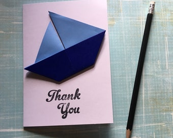 Origami greeting card - blue sailing boat 'Thank you'