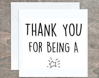 Thank you card, Thank you Star, Typography Card, Greeting Card, Teacher Card, TA Card, Teaching Card, Thank you Typography Card, Blank Card