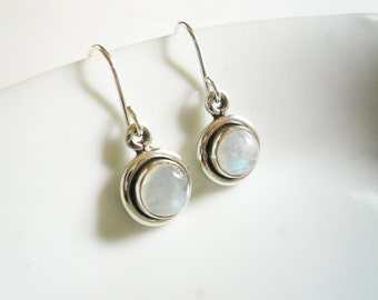 Little Moonstone Earrings in Sterling Silver - Small Rainbow Moonstone and Silver Round Earrings