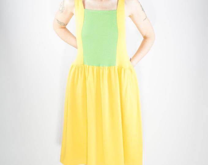 Vintage Josie by Natori Dress | 80s Yellow and Green | Medium