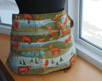 Handmade Vendor Apron  Blue Green Brown Forest Animals Utility Craft Farmers Market Teacher
