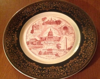 "Vintage Gold Filigree 10"" Souvenir Washington DC plate."
