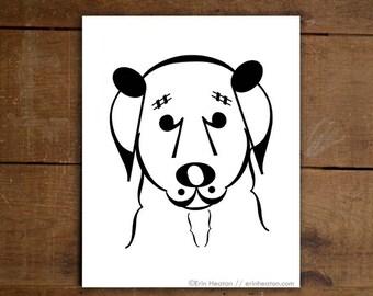 Music gifts / BELLE // DOG SERIES // Music art print - 5x7, 8x10, 11x14 Fine art print / Music teacher gift / Music wall art / Music decor