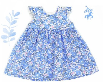 Liberty® Blue-Pink ruffled dress