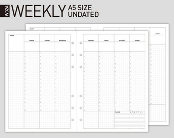 Printable Weekly Planner Insert | Filofax A5 size Wo2p | undated Weekly Scheduler/undated Weekly planner