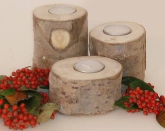 SET OF THREE Birch Rustic Bark Tealight Holders