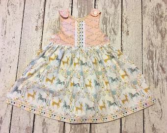 unicorn dress, deer dress, unicorn party dress, deer party dress, woodlands dress, girls unicorn party, girls deer dress
