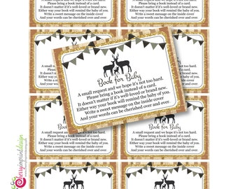 Family Deer Woodland - Please Bring a Book Instead of a Card Insert DIY Printable INSTANT DOWNLOAD (Digital File Jpeg and Pdf)