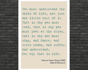 Philosophy art - Jiddu Krishnamurti inspirational quote large poster on paper or canvas up to A0 size