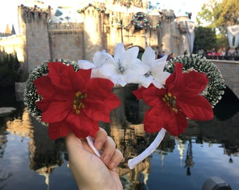 Red Poinsettia Floral Mouse Ears