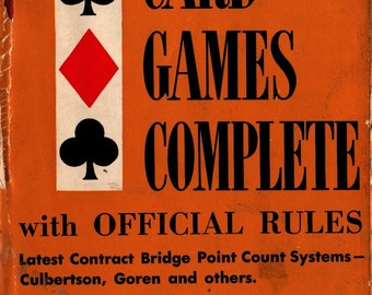 Culbertson's Card Games Complete with Official Rules + Ely Culbertson + 1952 + Vintage Book