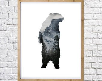 Bear and mountains poster, digital print, instant download, minimal art, printable art, wall decor, digital download