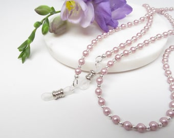 Millennial pink pearl and silver eyeglass chain for women, reading glasses chain, glasses lanyard, glasses necklace holder, glasses leash