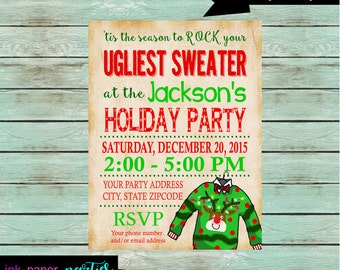 Holiday Christmas Ugly Sweater Party Invitations Invites ~ We Print and Mail to You