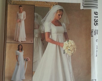 90s wedding dress / empire wedding dress / bridesmaid /princess seam dress / 1997 sewing pattern, Bust 32 34 36, Size 10 12 14, McCalls 9135