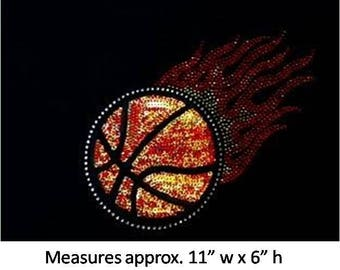 CLOSEOUT SALE Basketball with flames Sequins and Rhinestone Transfer Applique ONLY