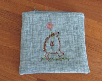 Zipper Bag, Blue, Hedgehog with Flower, Coin purse size, Hand Embroidered, Floral Lining