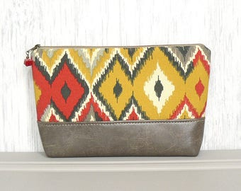 Zipper Pouch, Large Cosmetic Bag, Zippered Makeup Bag - Azteca Diamonds in Red, Gray and Gold