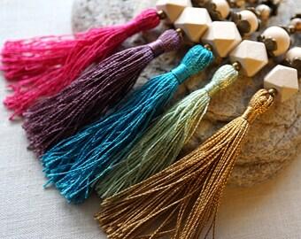 Pick Color Long Tassel Necklace Colorful Silk Tassel Necklace Geometric Wood Beads Long Chain Boho Fashion Bohemian mens custom necklace