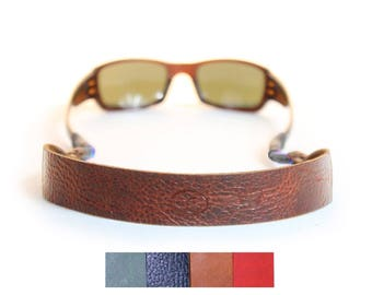 Leather Sunglass Strap / Eyewear Retainer - Brown, Red, Green, Navy Blue - Personalization Available