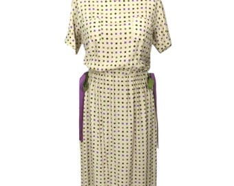 vintage 1950's geometric print dress / B.H. Wragge / novelty print dress / rayon / ribbon belt / women's vintage dress / tag size 16