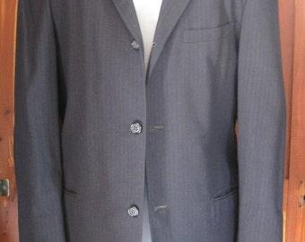 1960s Vintage Mens Suit Jacket Navy Blue Pinstripe
