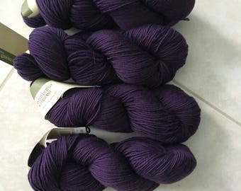 Lot of 4 Plymouth Select Yarn, Eggplant Purple, Merino Superwash, 872 yds Total, Machine Wash,  Tumble Dry