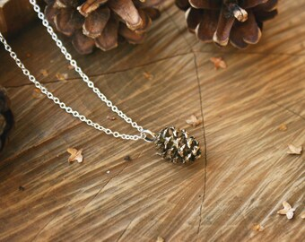 Brass Pine Cone Necklace:  Gold Pinecone Necklace, Woodland Necklace, Real Pinecone Pendant, Brass Pendant, Gold Pinecone