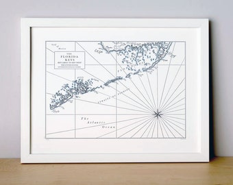The Florida Keys, Key Largo to Key West, Letterpress Printed Map