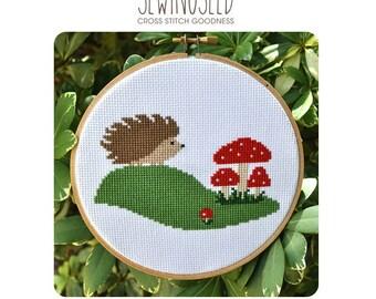 Hedgehog & Toadstool Mushrooms Cross Stitch Pattern Instant Download