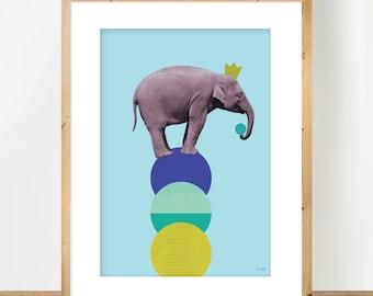 Elephant A3 Print, Scandinavian Animal Art, Nursery Art, Minimalist Poster, Circus Wall Art, Children Decor, Geometric Collage, Mixed Media