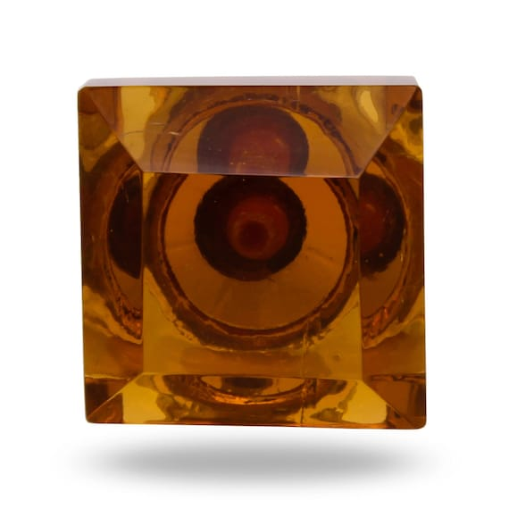 Amber Square Cut Glass Door Knob Large Decorative Knob for a