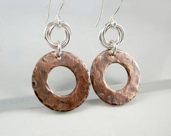 Round Copper Earrings, Copper Anniversary Gift, Latest Earrings, Copper Jewelry, Cool Earrings, 7th Anniversary Gift, Nickel Free Earrings