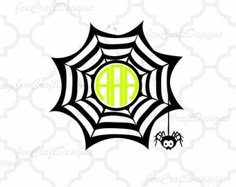 Spider Web Monogram Frame, Halloween Monogram Frame, Fall Designs, SVG DXF Files, Cricut Design Space, Silhouette, Digital Cut Files