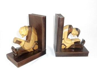 Vintage Wooden Bookends