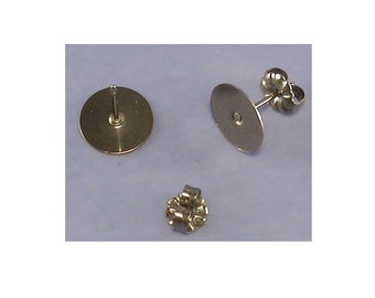 Titanium 10 mm Flat Pad Ear Posts / Earring Findings - 5 Pairs of Hypo Allergenic, No tarnish Earring Posts