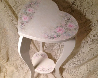 Antique Shabby Cottage Heart Shaped Side Table Hand Painted Victorian Pale Pink Rose