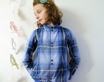 Nice shirt for girl and boy, checked pattern, simple collar 7/8 years