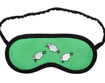 Jumping sheep sleep mask, Animal eye mask, Lamb sleeping eyemask, Blue green blindfold, Embroidered cotton sleepmask, Her pajama party favor